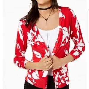INC floral print rhinestone button cardigan